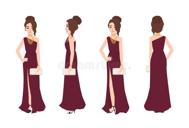 Young smiling woman with elegant hairstyle wearing long one-shoulder evening dress with split front and holding clutch vector illustration