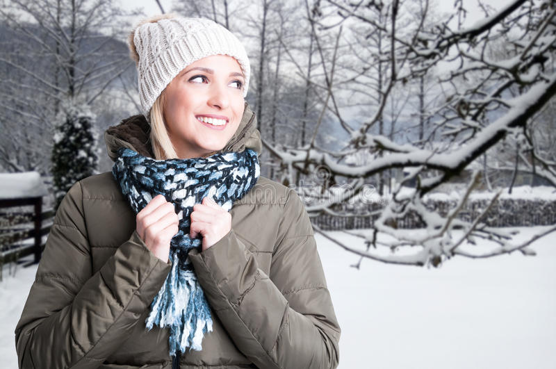 Young smiling woman feeling happy outside royalty free stock image