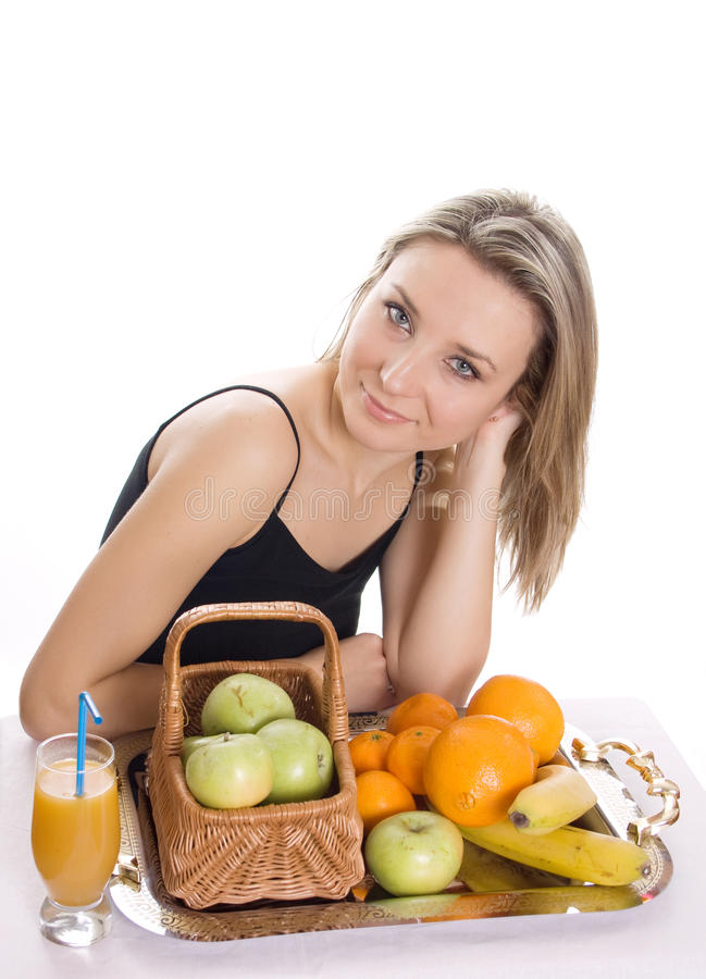 Download Young Smiling Woman With Fruits Stock Photo - Image: 23609844