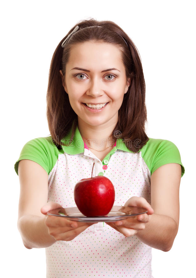 Download Young Smiling Woman Give Red Apple On Plate Stock Image - Image: 18249143