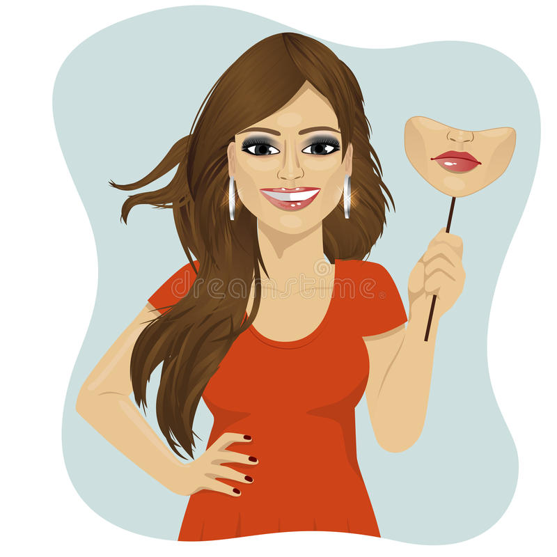 Young smiling woman holding mask of sad face in her hand vector illustration
