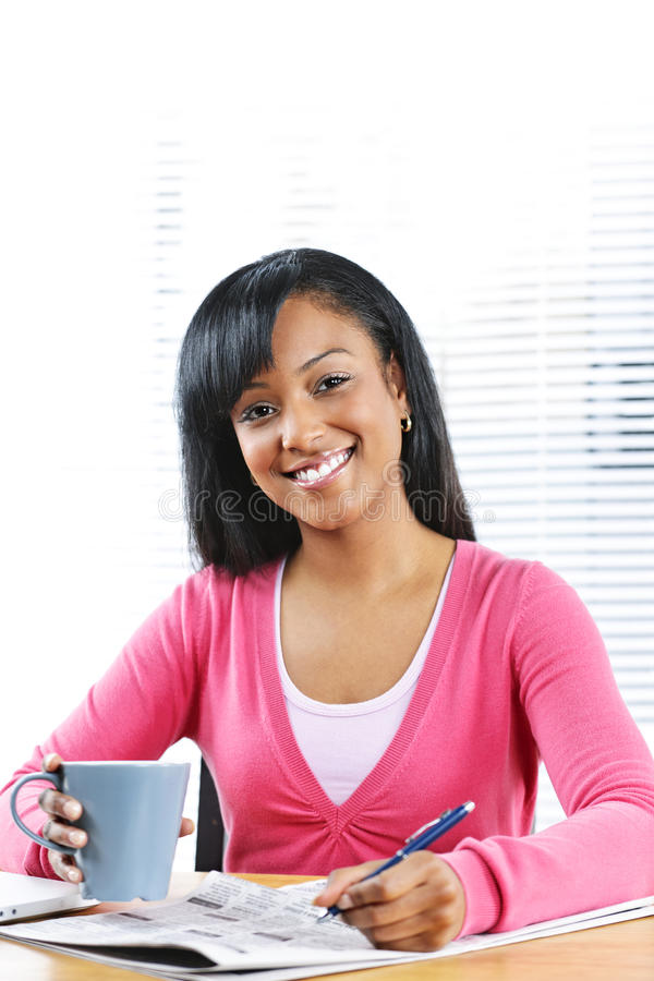 Young smiling woman looking for job royalty free stock photos