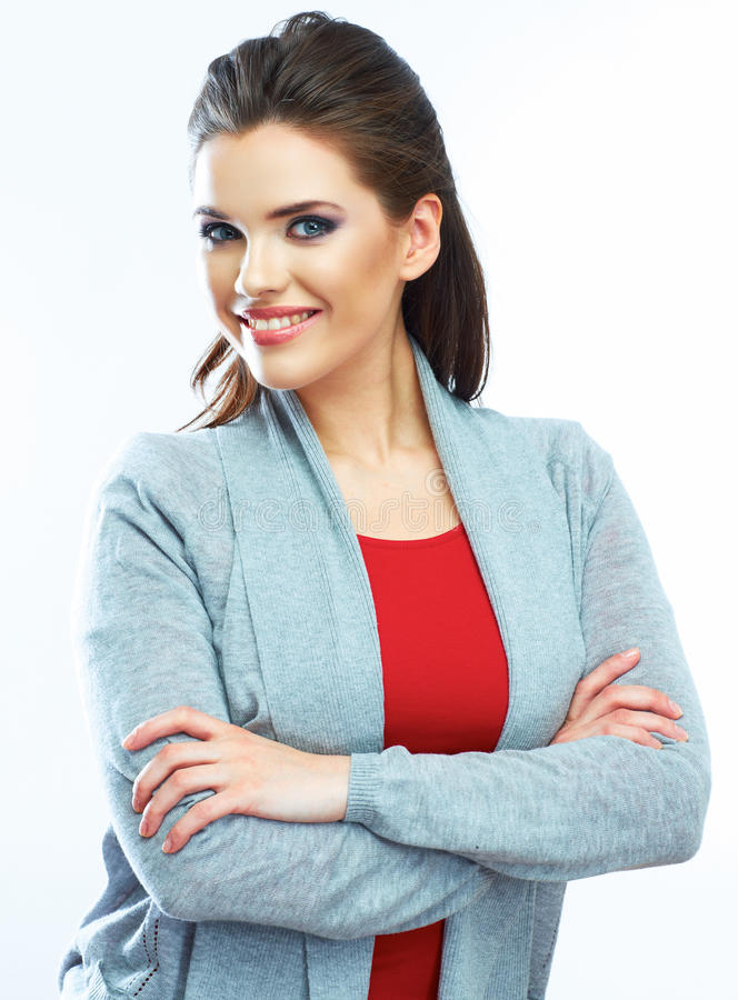 Young smiling woman portrait. Isolated royalty free stock photography