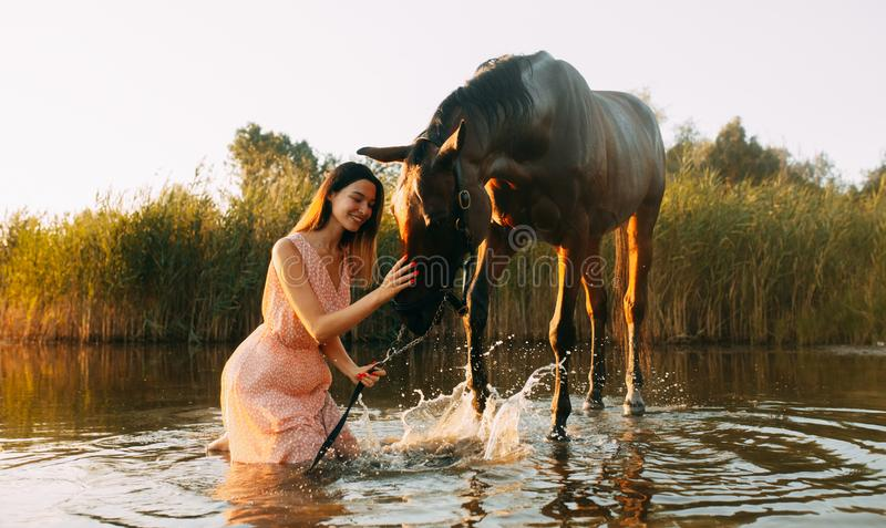 Woman sits next to the horse that produces splashes on the water. A young smiling woman sits next to the horse that produces splashes on the water at sunset stock photography