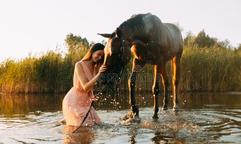 Woman sits next to the horse that produces splashes on the water. A young smiling woman sits next to the horse that produces splashes on the water at sunset royalty free stock photos