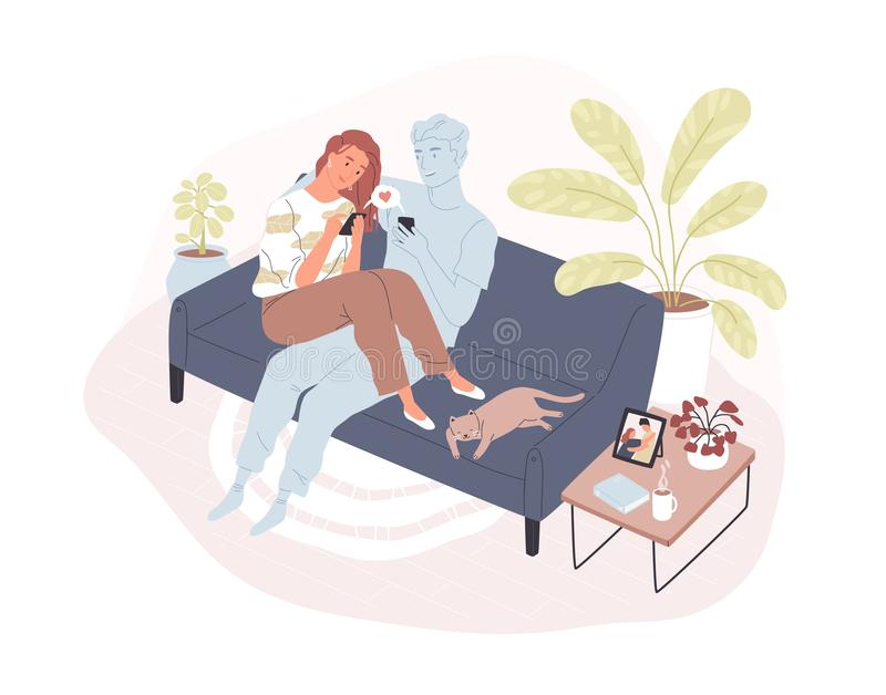 Young smiling woman sitting on comfy sofa with her virtual romantic partner, holding smartphone and sending love message vector illustration