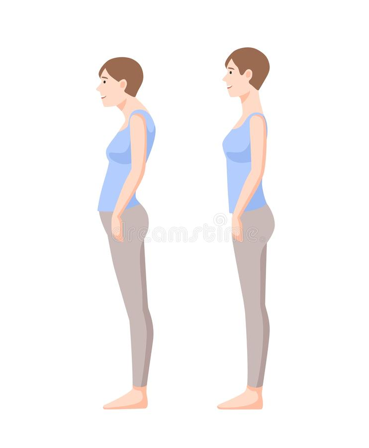 Young smiling woman standing in good and bad postures isolated on white background. Neutral spine, correct and incorrect royalty free illustration