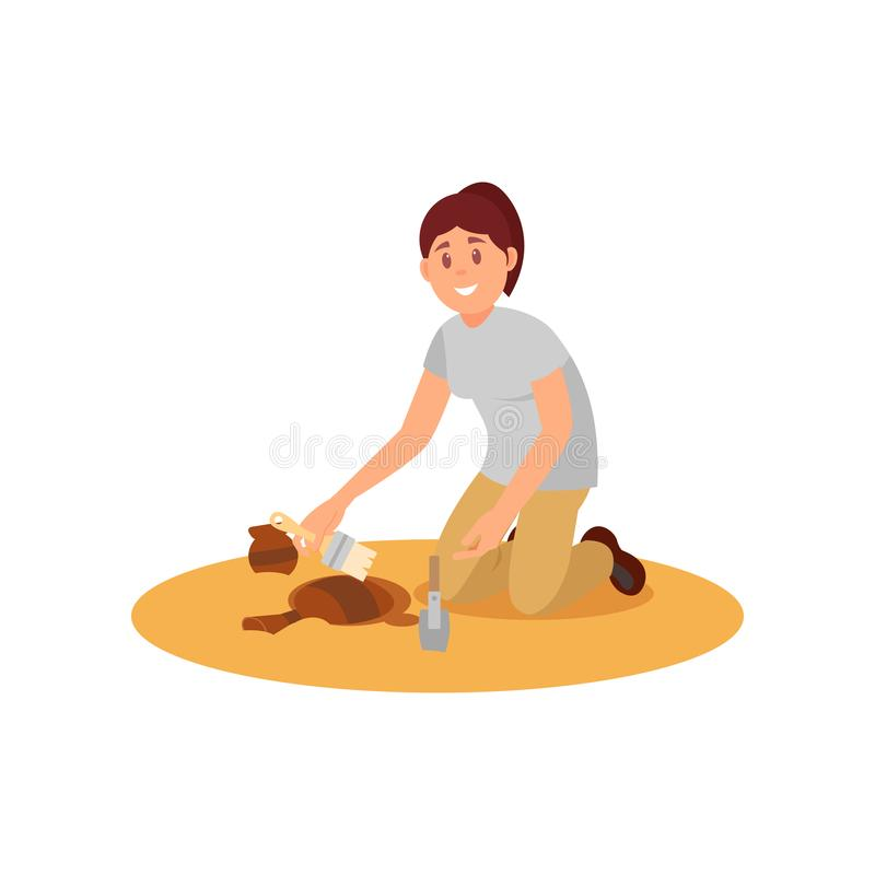 Young smiling woman sweeping dirt off ancient ceramic jug. Archaeologist working on excavation. Flat vector design vector illustration