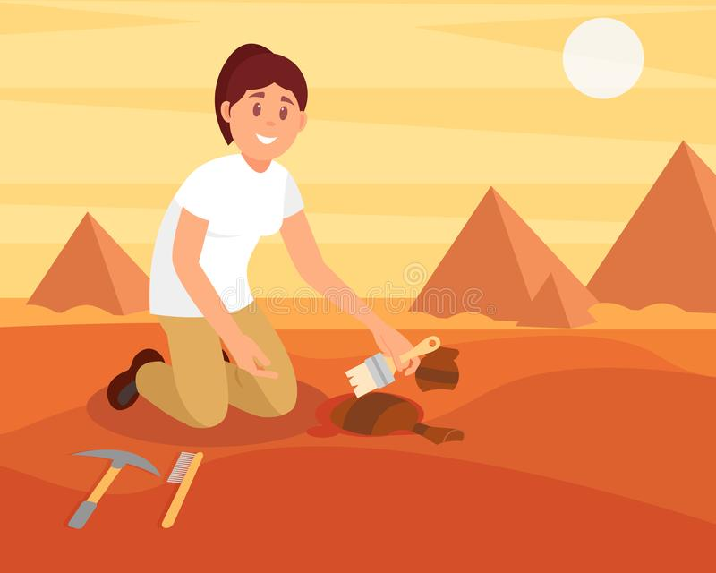 Young smiling woman sweeping dirt off old ceramic jug. Archaeologist working on excavation in sandy Egyptian desert royalty free illustration
