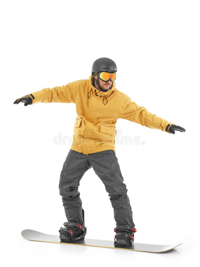 Snowboarder kipping the balance royalty free stock photo