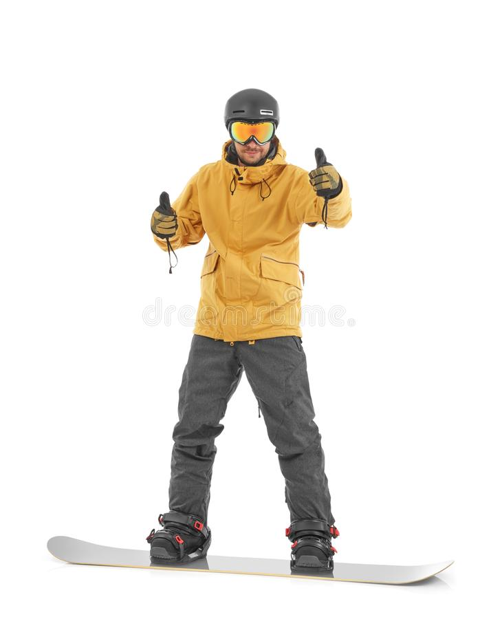 Snowboarding concept on white stock image