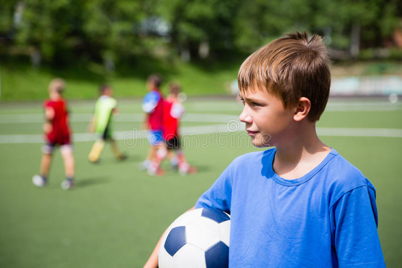 Young soccer player in training royalty free stock photography