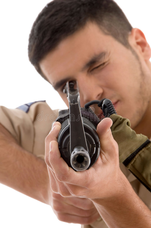 Download Young soldier aiming stock photo. Image of posing, police - 7360100