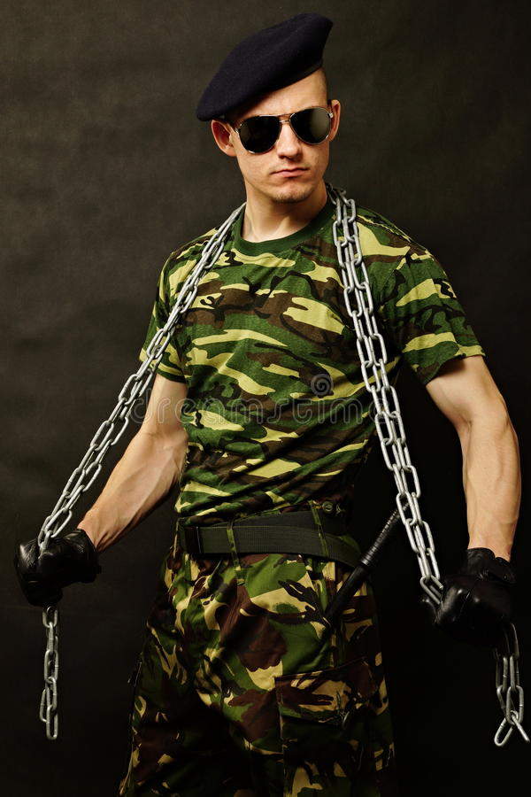 Young soldier with a chain royalty free stock image