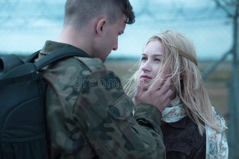 Young soldier farewell stock photos
