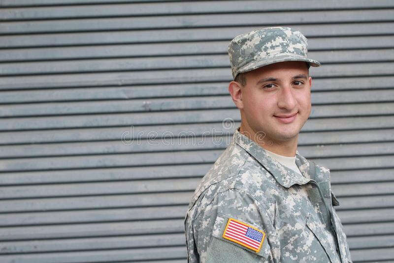 Young soldier with friendly healthy expression.  royalty free stock image