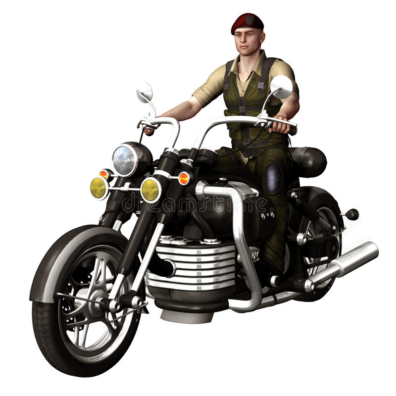 Download Young Soldier On A Motorbike Stock Illustration - Image: 27296528