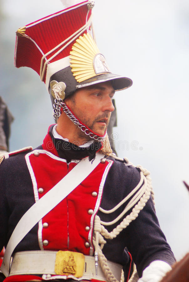 Young soldier in red and blue uniform at Borodino royalty free stock image