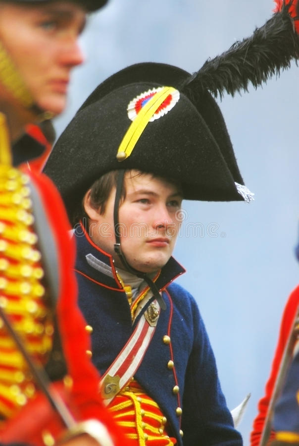 Young soldier in red uniform at Borodino stock images