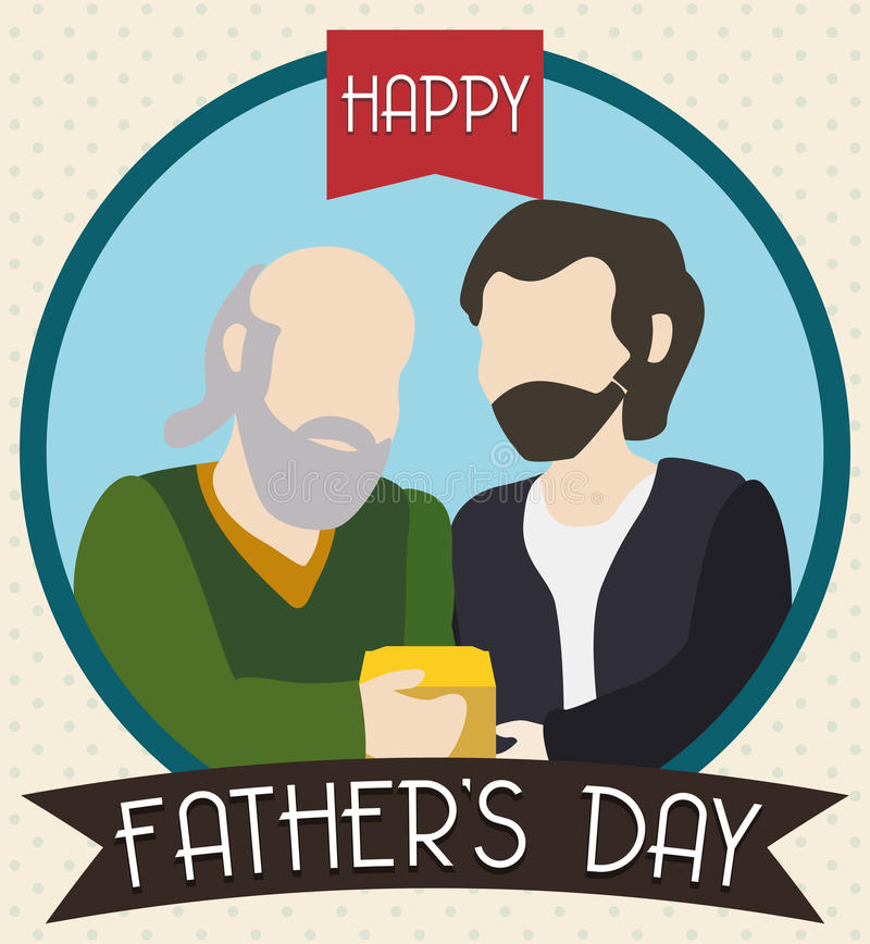 Young Son Giving a Present at his Dad in Father's Day, Vector Illustration. Senior dad receiving a gift from his young son in a Father's Day vector illustration