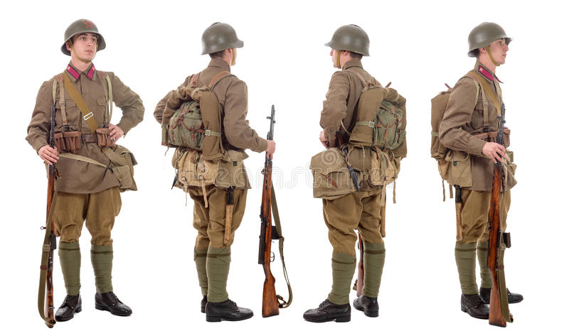 Young Soviet soldier with SVT rifle , front, profile, back stock photos