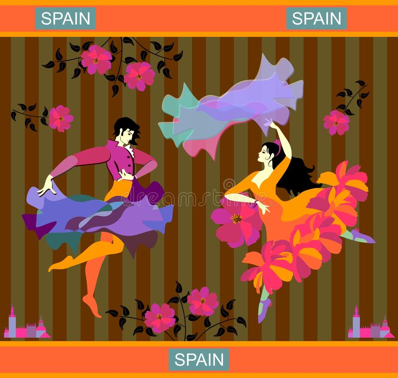 Young Spanish couple dancing flamenco. Man with raincoat and woman with shawl in the form of flying bird. Striped background. Poster, banner, postcard in royalty free illustration