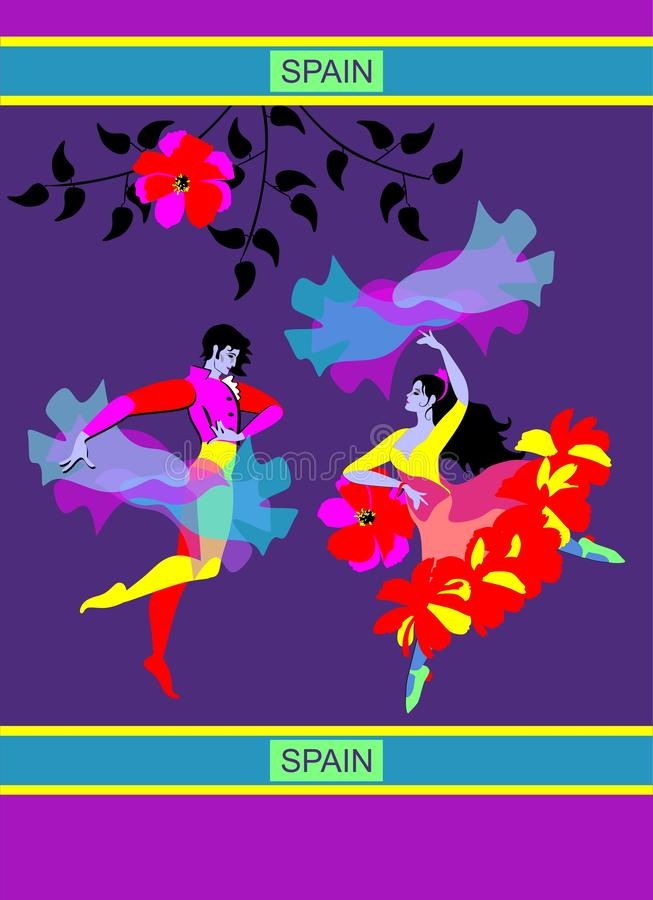 Young Spanish couple dancing flamenco in night garden. Man with raincoat and woman with shawl in the form of flying bird. Bright picture royalty free illustration
