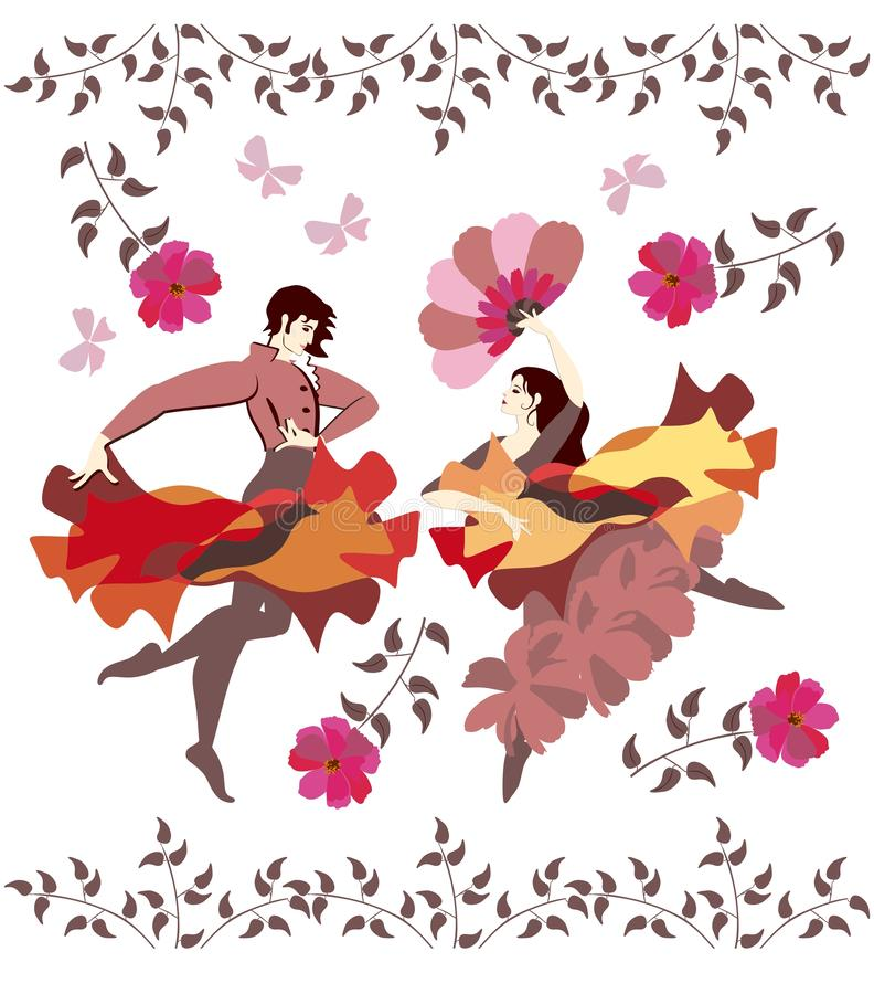 Young spanish couple in national clothes dancing flamenco in garden among butterflies and flowers isolated on white background. stock illustration
