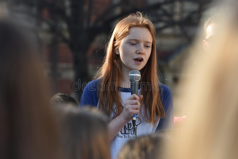 Speaker at Student Climate Change Protests, Parliament Square, London, England 15/02/2019 stock photo