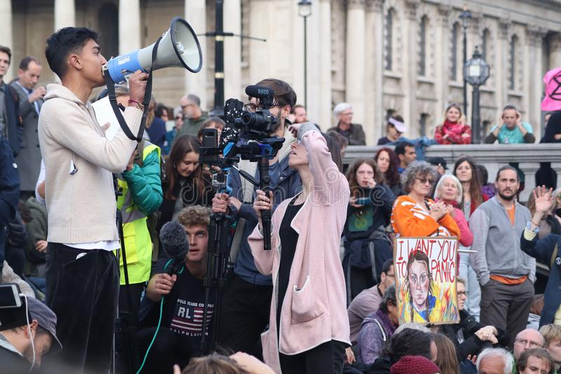 Young Speaker at Extinction Rebellion Protest. stock image