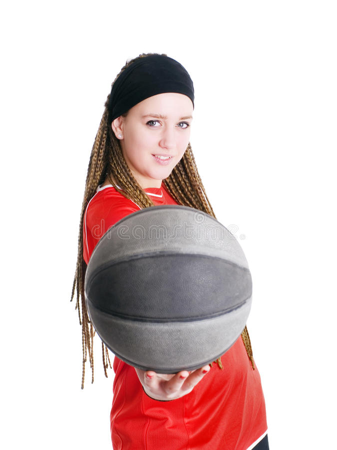 Young Sport Woman Holding Ball Over White Stock Images