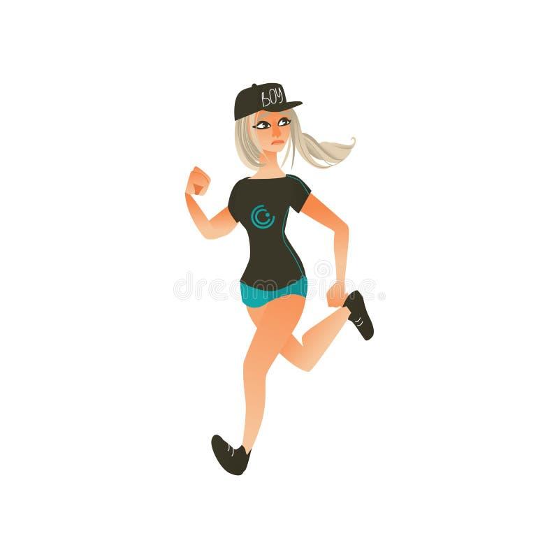 Vector cartoon running woman, ranaway character royalty free illustration