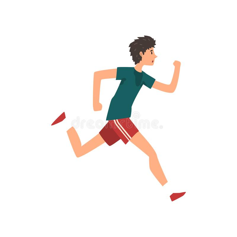 Young sportive man running, active healthy lifestyle concept cartoon vector Illustration on a white background. Young sportive man running, active healthy stock illustration