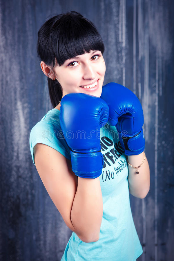 The young sports girl with dark hair royalty free stock photo