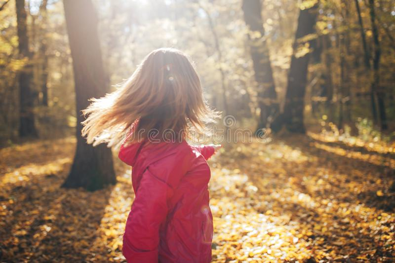 Young sports girl trains in the morning autumn wood, park royalty free stock photos