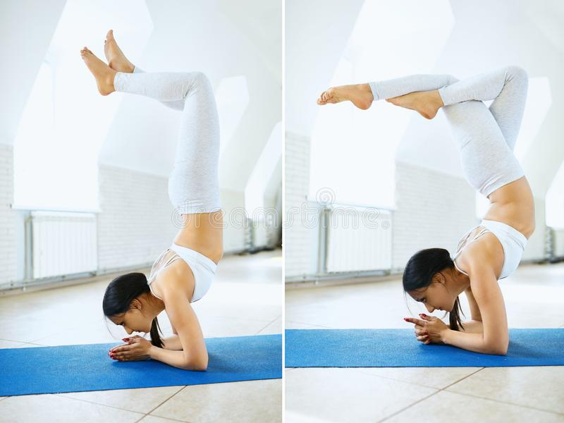 Young sports woman in white sportswear doing headstand yoga pose in a gym with white wall background. Collage stock photos