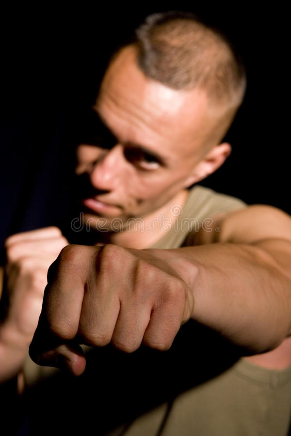 Young sportsman boxing royalty free stock photography