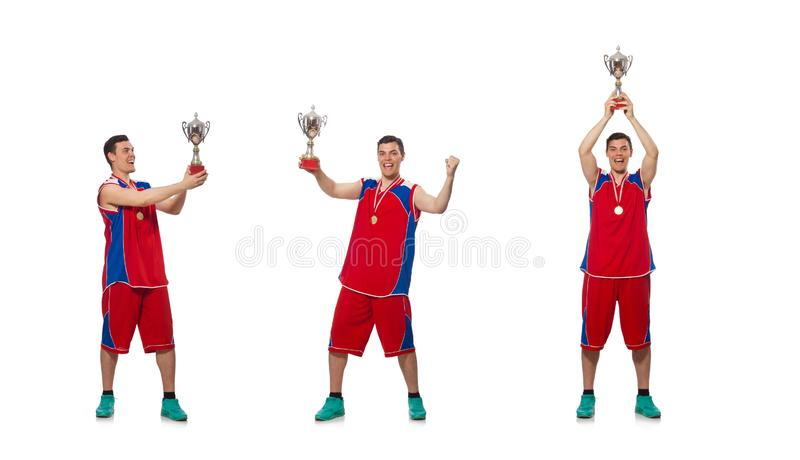 The young sportsman with cup isolated on white stock photo