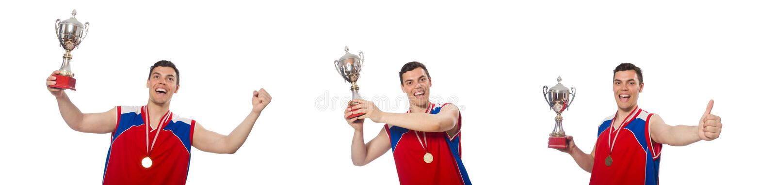 The young sportsman with cup isolated on white royalty free stock images