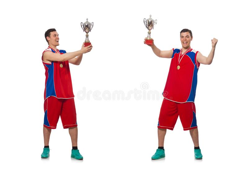 The young sportsman with cup isolated on white royalty free stock photos