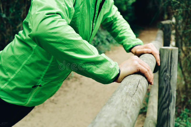 Young sportsman doing incline push-ups royalty free stock photo