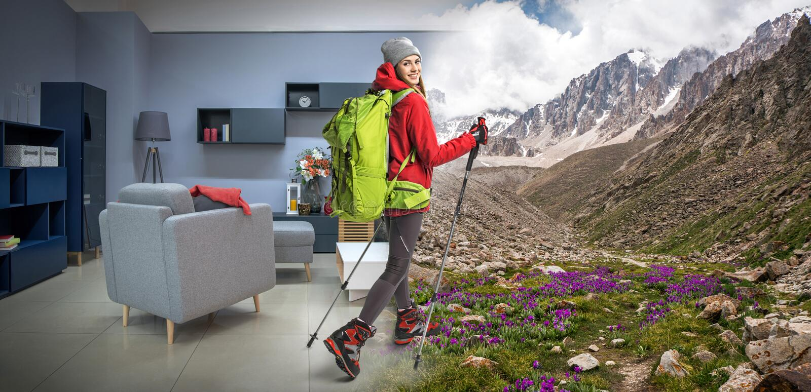 young sportswoman with backpack and hiking equipment dreaming about hiking royalty free stock photography