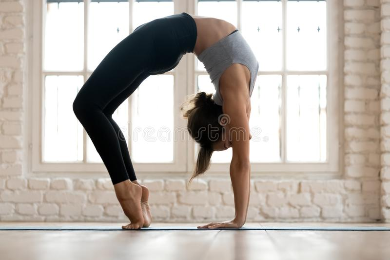 Young sporty attractive woman practicing yoga, doing Bridge exer. Cise, Urdhva Dhanurasana pose, working out, wearing sportswear, pants and top, indoor full royalty free stock photo