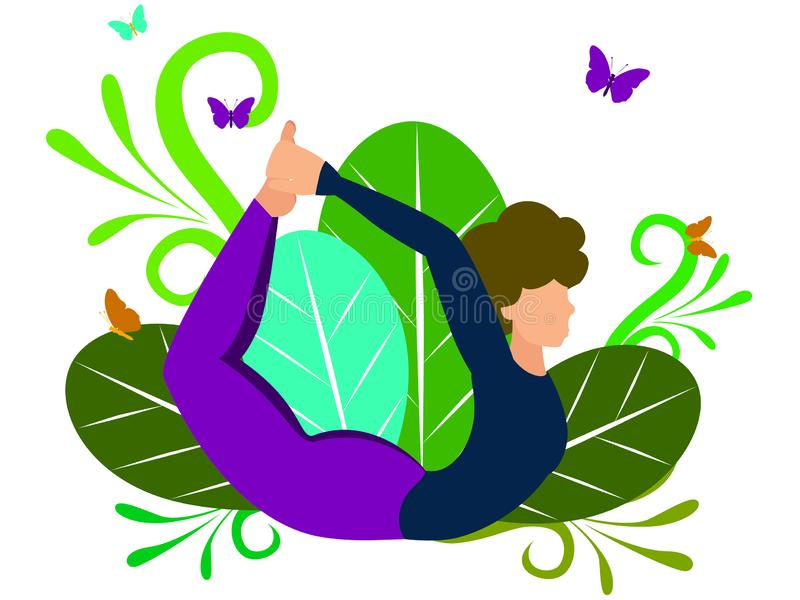 Young sporty attractive woman practicing yoga, doing Dhanurasana exercise, Bow pose, working out, yoga studio. In. Minimalist style. Flat isometric raster royalty free illustration
