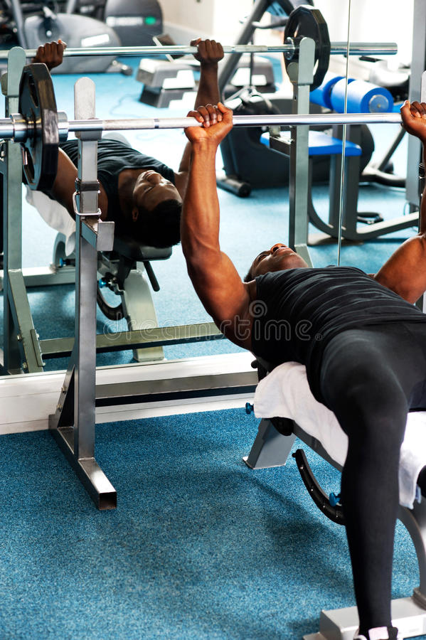 Download Young Sporty Fit Guy Doing Barbell Bench Press Stock Image - Image: 31235467