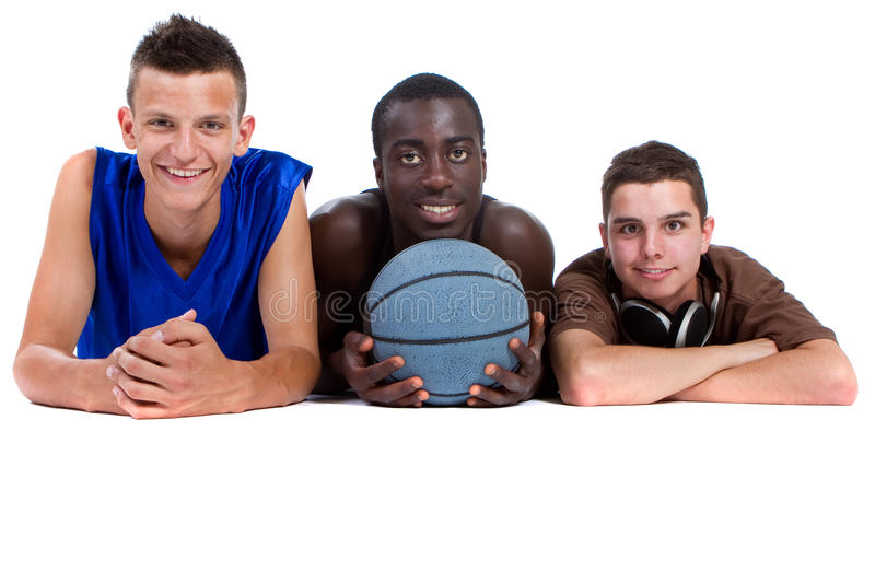 Young sporty interracial teenage group stock photo