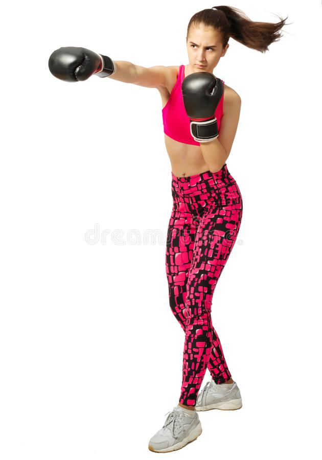 Young sporty kickboxer girl isolated stock photos