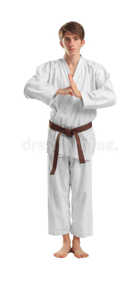 Young sporty man in kimono on white background. stock images
