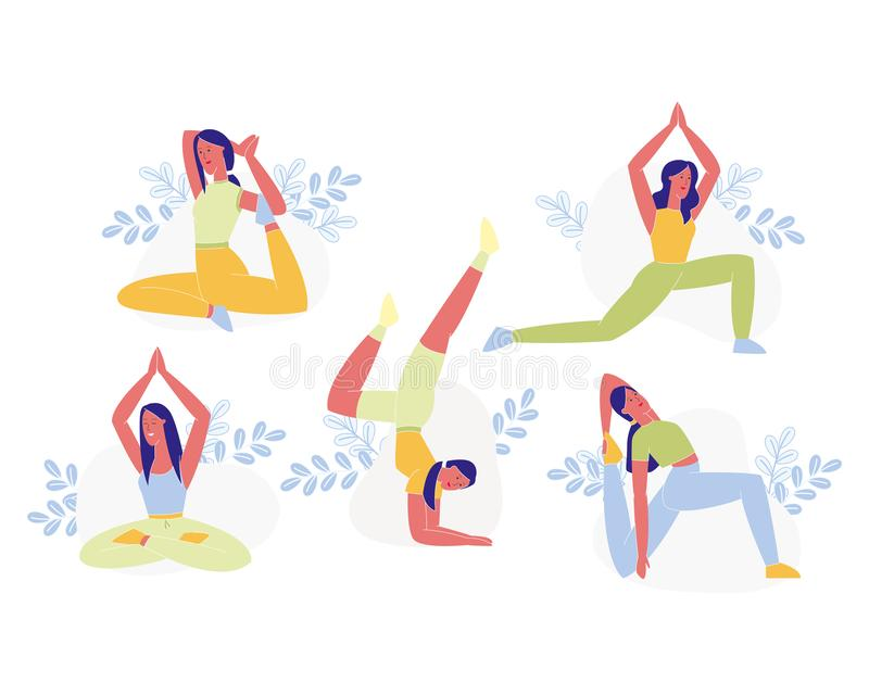 Young Sporty Woman Doing Yoga or Pilates Exercises vector illustration