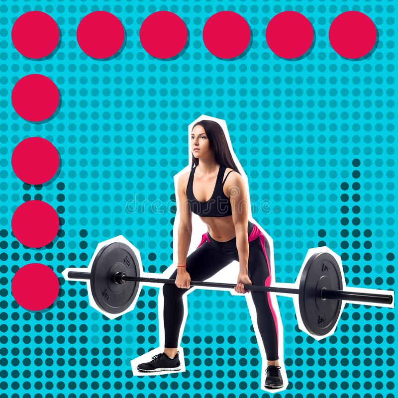 Young sporty woman fitness model doing deadlift royalty free stock photo